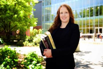 Amanda Heitz photographed outside the Goldring/Woldenberg Business Complex