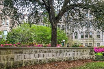 Tulane University sign in front of Gibson Hall