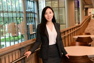 Stephanie Cheng photographed in the Goldring/Woldenberg Business Complex