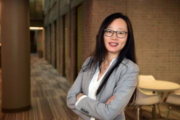 Victoria Li photographed in the Goldring/Woldenberg Business Complex